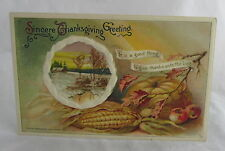Antique Postcard Sincere Thanksgiving Greeting Winsch 1911 Bountiful Fruit Inset