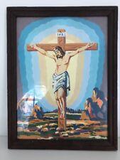 Vintage Framed Jesus Paint By Number Jesus on the Cross