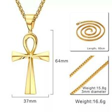 Mens Stainless Steel Coptic Ankh Cross Pendant Wheat Braided Chain Necklace 24""