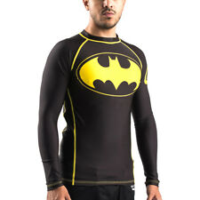 Fusion Fight Gear Batman Inverted Logo Compression Shirt Bjj Rash Guard- Black