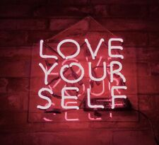Pink LOVE YOURSELF Eye-catching Club Man Cave Neon Light Decor Real Glass
