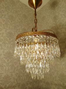antik  Kronleuchter Lüster Deckenlampe Messing Messing  Gold Kristall ca.1920