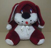 Peluche Vintage Grán perro cabezón sentado,Rojo y blanco 50cm.