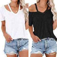Women Off Shoulder T-shirt Summer Female Lady Short Sleeve Tshirt Tops Plus Size