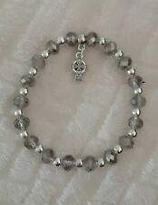 Stunning Hand made grey/silver glass beads Celtic Cross  bracelet gift bag