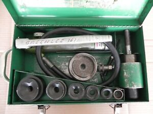 "Greenlee 1/2"" - 3"" Knockout hydraulic punch driver set with 767 pump &746 ram"