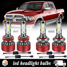 9005 + H11 LED Headlight Bulbs For 2009-2017 Dodge Ram 1500 2500 3500 4500 5500