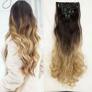 Full Head Clip in Hair Extension Curly Ombre Hairpiece Like Human Hair