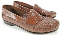 Bass Mens Size 8M Brown Woven Leather Penny Loafers Brazil HJ8463 Slip-on Shoes