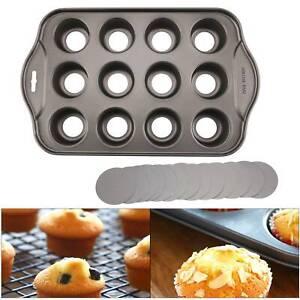 12 Mini Cupcake Baking Tin Pan Baking Cheese cake Cup Cake Tray Non Stick