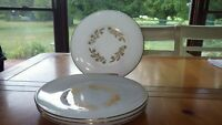 "Federal Glass Meadow Gold Dinner Plates 4 10"" Gold trim Round dinner plates"