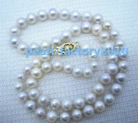 """18"""" AAAA 7-6MM Akoya NATURAL White PEARL NECKLACE 14K GOLD  CLASP"""