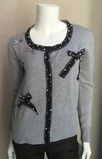 NWT Ecaille Sweater Cardigan SZ 1 Made in France Gray With Black Bows