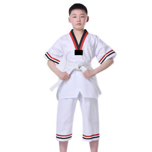 Taekwondo Uniform Gi Suit Unisex Student Karate Suit Martial Arts Sets w/ Belt