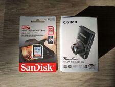 Canon PowerShot ELPH 360 HS Digital Camera Black + Bonus 32GB Card - Brand New
