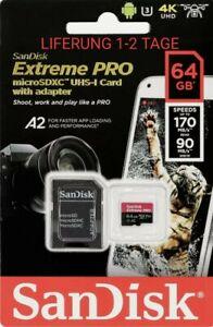 SanDisk EXTREME PRO 64GB 128GB ✅4K✅ micro SD SDXC Speicherkarte U3