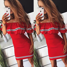 UK Womens Summer Holiday Striped Bardot Bodycon Party Ladies Mini Dress Size6-14