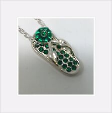 "Lot-100 Pcs Assort crystal flip flop Charm 18"" Rhodium silver chain Necklace"