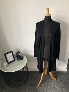 Evans Plus Size Long Cardigan - Black Size 30/32