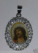 Sterling Silver Sparkly CZ MOP Jesus Religious Pendant Kids Adults BRAND NEW 925