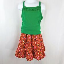 Vintage Mod Floral Girls 6 7 Skirt Tank Set Outfit Mod Flower Power Red Green