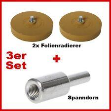 Profi Set Aufkleberentferner 2x Folienradierer inkl Spanndorn für Bohrmaschine