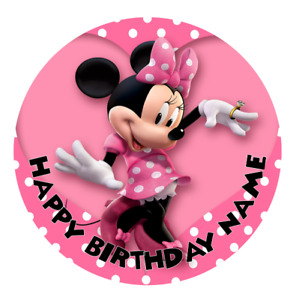 Minnie Mouse Personalised Edible Birthday Party Cake Decoration Topper Image