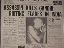 VINTAGE NEWSPAPER HEADLINE~CRIME HINDU ASSASSIN KILLS GANDHI GUN SHOT DEAD INDIA
