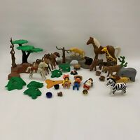 Playmobil Geobra 1974 1993 Figures Indian Horse Cows Zoo Animals Lot of 38 Parts