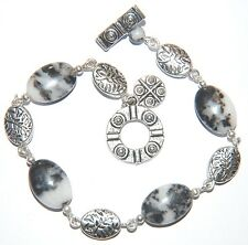 Black & White ZEBRA JASPER Gemstone Linked Silver Bracelet ~ Toggle & Charm