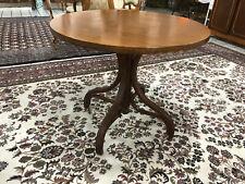 Alter Esstisch BUGHOLZ  rund  Salon Tisch Holz 90 cmD geschwungene beine