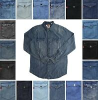 Levi Men's Denim Shirt Long Sleeve Collared Button Down Western Flap Pockets