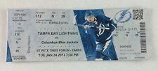 NHL 2012 01/24 Columbus Blue Jackets at Tampa Bay Lightning Full Ticket