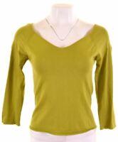 HOBBS Womens Knit Top 3/4 Sleeve Size 10 Small Green Cotton  KJ19
