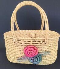 Purse Bag Woven Straw Handbag  1960-70's With Flowers