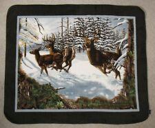 Deer in the Snow Fleece Throw Blanket