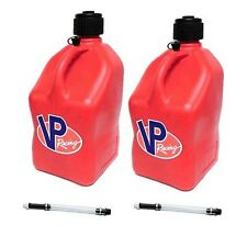 2 VP Racing Red Square Fuel Jugs w/ Hoses 5 Gallon Ea. Gas Container Jerry Can