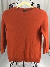 Talbots Petite Pure Cashmere Sweater Sz. SP Crew Neck 3/4 Sleeves Rust Orange #R