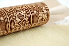 Rolling Pin Springerle Embossed Dough Roller Birds Carved Textured Molds