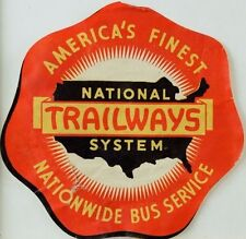 1940's-50's America's National Trailways System Bus Service Luggage Label F94