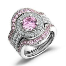 3 in 1 Women 925 Silver Filled Pink Sapphire Gemstone Wedding Rings Set Size 8