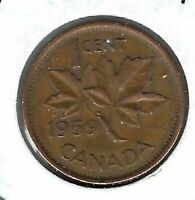 1959 Canadian Circulated One Cent Elizabeth II Coin!