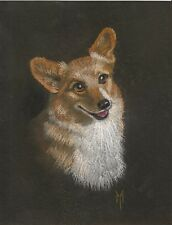 5x7 Print of Painting Pembroke Welsh Corgi Ryta Portrait Folk Art Xmas gift art