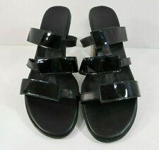 Munro American Womens Strappy Block Heels Size 9 M Patent & Smooth Straps Black
