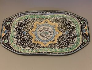Beautiful Handmade Heavy Antique Persian Art Enamelled Copper Tray