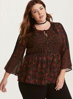 Torrid Women's Rose Chiffon Lace Inset Blouse Shirt Top Black Red Valentine's 2