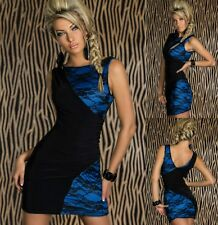 Sz 8 10 Black Blue Lace Sleeveless Bodycon Cocktail Party Formal Mini Dress