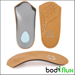 3/4 Length Leather Fallen Arch Support Insoles Pads Plantar Fasciitis Flat Feet