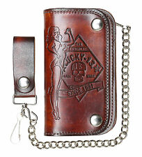 LUCKY 13 [NO RIDERS] LEATHER WALLET LEDER GELDBÖRSE ROCKABILLY GREASE TATTOO INK