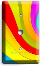 COLORFUL SWIRLY SPIRAL RAINBOW LIGHT DIMMER CABLE WALL PLATE COVER LIVING ROOM